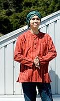 長袖ボタンクルタ 【オレンジ赤系】の個別写真