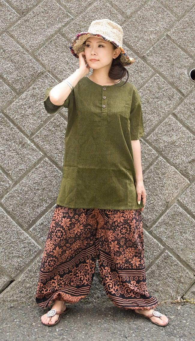 半袖シンプルコットンシャツ - カーキ