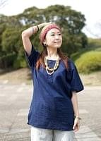 半袖シンプルコットンシャツ - ネイビーの個別写真