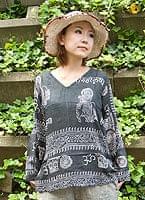 長袖Vネックラムナミシャツ - 黒の個別写真
