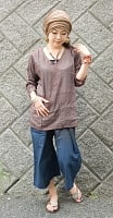 長袖Vネックラムナミシャツ - チョコの個別写真