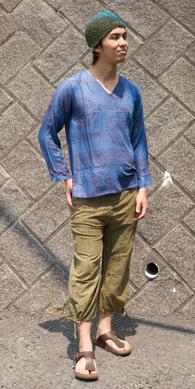 長袖Vネックラムナミシャツ - 青