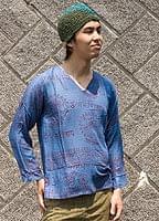 長袖Vネックラムナミシャツ - 青の個別写真