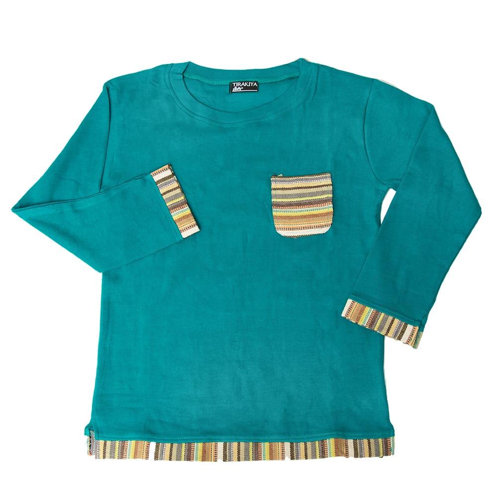 ゲリポケットの長袖コットンリブTシャツの個別写真