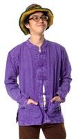 シンプル無地のストーンウォッシュクルタシャツの個別写真