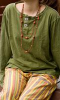 ストーンウォッシュのボタン付ロングTシャツの個別写真