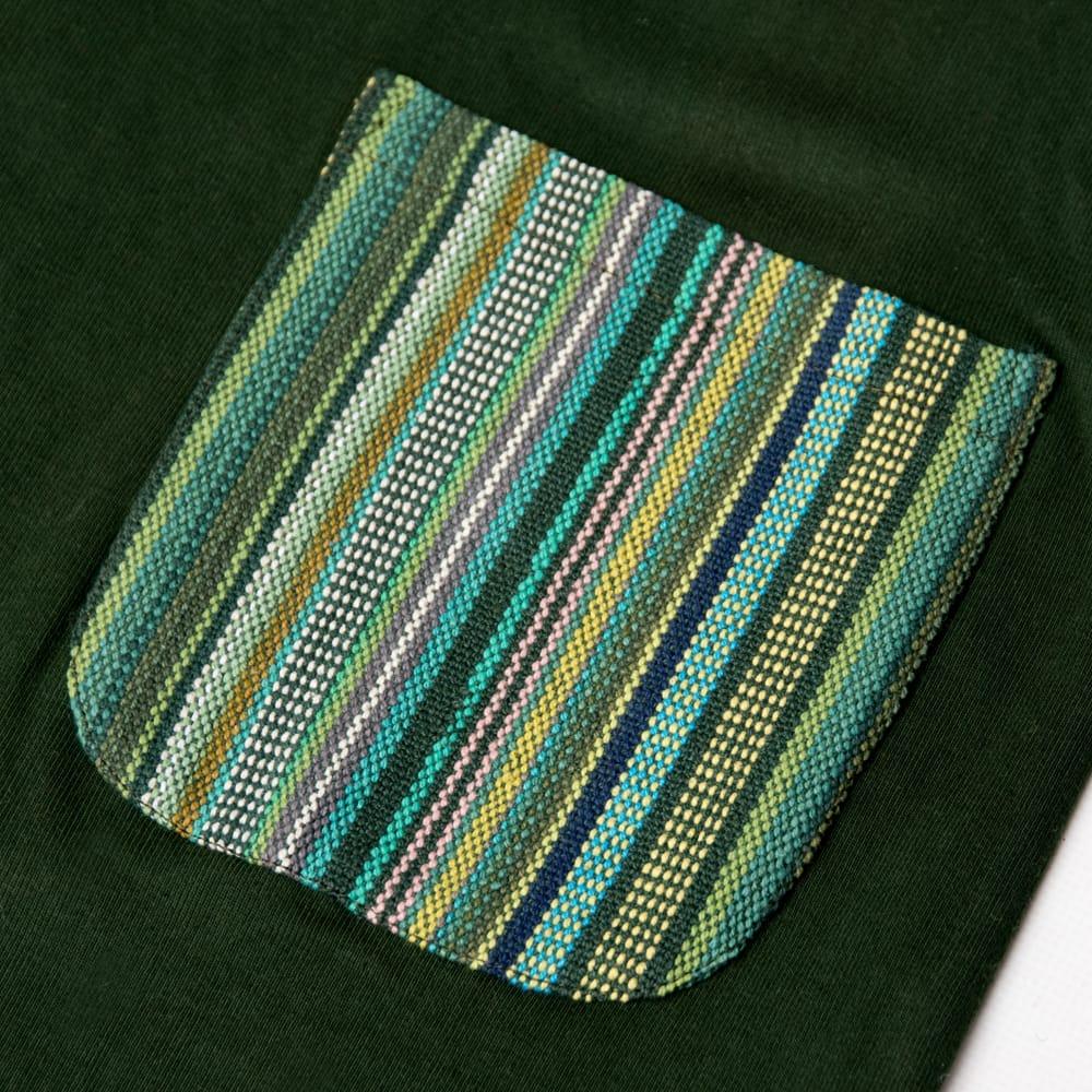 エスニック布のカラフルポケットTシャツの個別写真