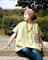 ストーンウォッシュの半袖プルオーバーシャツ 【グリーン】の個別写真