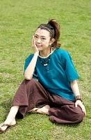半袖シンプルコットンシャツ - ターコイズの個別写真