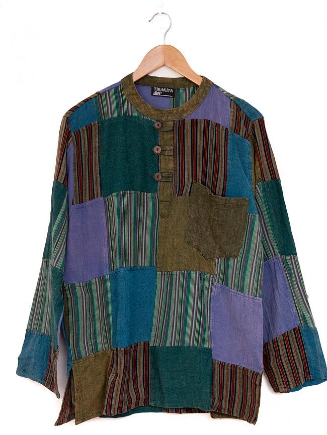 パッチワーク クルタシャツ ストーンウォッシュの深みある風合いの選択用写真