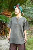 半袖シンプルコットンシャツ - グレーの個別写真