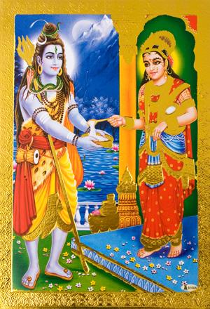 金の神様ポストカード-恵みを受けるシヴァの個別写真