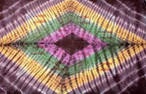 〔195cm*100cm〕ガネーシャ&ヒンドゥー神様のタイダイサイケデリック布 - 黒紫×黄×ピンク×緑系の個別写真