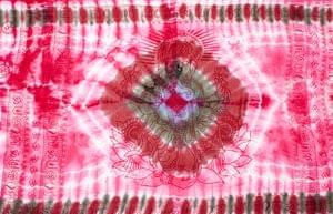 〔195cm*100cm〕ガネーシャ&ヒンドゥー神様のタイダイサイケデリック布 - ピンク×紫×緑×小豆系の個別写真