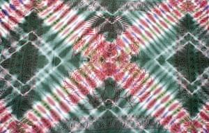〔195cm*100cm〕ガネーシャ&ヒンドゥー神様のタイダイサイケデリック布 - 濃緑×小豆×紫系の個別写真