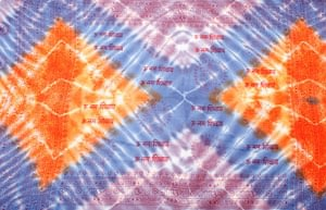 〔195cm*100cm〕ガネーシャ&ヒンドゥー神様のタイダイサイケデリック布 - 薄青紫×オレンジ×薄小豆系の選択用写真