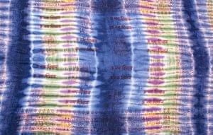 〔195cm*100cm〕ガネーシャ&ヒンドゥー神様のタイダイサイケデリック布 - 青紫×紫×黄緑×黄色系の個別写真