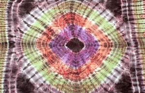 〔195cm*100cm〕ガネーシャ&ヒンドゥー神様のタイダイサイケデリック布 - 黒×紫×オレンジ×緑系の個別写真