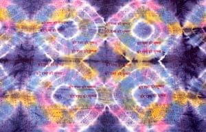 〔195cm*100cm〕ガネーシャ&ヒンドゥー神様のタイダイサイケデリック布 - 紫×黄×ピンク×水色系の個別写真