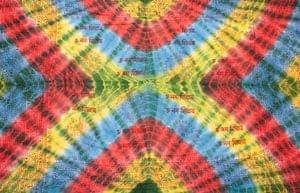 〔195cm*100cm〕ガネーシャ&ヒンドゥー神様のタイダイサイケデリック布 - 黄×水色×緑×赤×緑系の個別写真