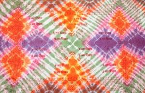 〔195cm*100cm〕ガネーシャ&ヒンドゥー神様のタイダイサイケデリック布 - 緑×オレンジ×紫×ピンク系の個別写真