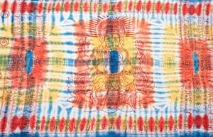 〔195cm*100cm〕ガネーシャ&ヒンドゥー神様のタイダイサイケデリック布 - 青×黄×オレンジ系の個別写真