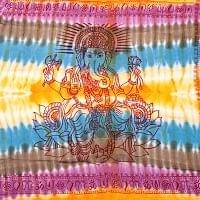 〔195cm*100cm〕ガネーシャ&ヒンドゥー神様のタイダイサイケデリック布 - 黄×水色×茶緑×紫系