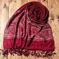 〔200cm×70cm〕インド更紗 伝統チンツ柄ストール - 赤の個別写真