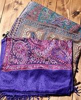 〔200cm×70cm〕インド更紗 伝統チンツ柄ストール - 紫系アソートの個別写真