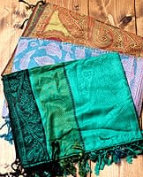 〔200cm×70cm〕インド更紗 伝統チンツ柄ストール - 緑系アソートの個別写真