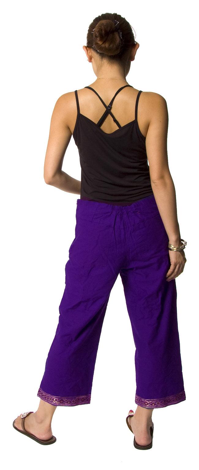 サリーボーダーパンツ - 紫2-後ろ姿はこんな感じです。\