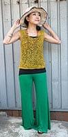 ロングガウチョパンツ -  緑の個別写真