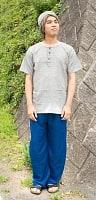 シンプル無地のリラックスパンツ 【ブルー】の個別写真