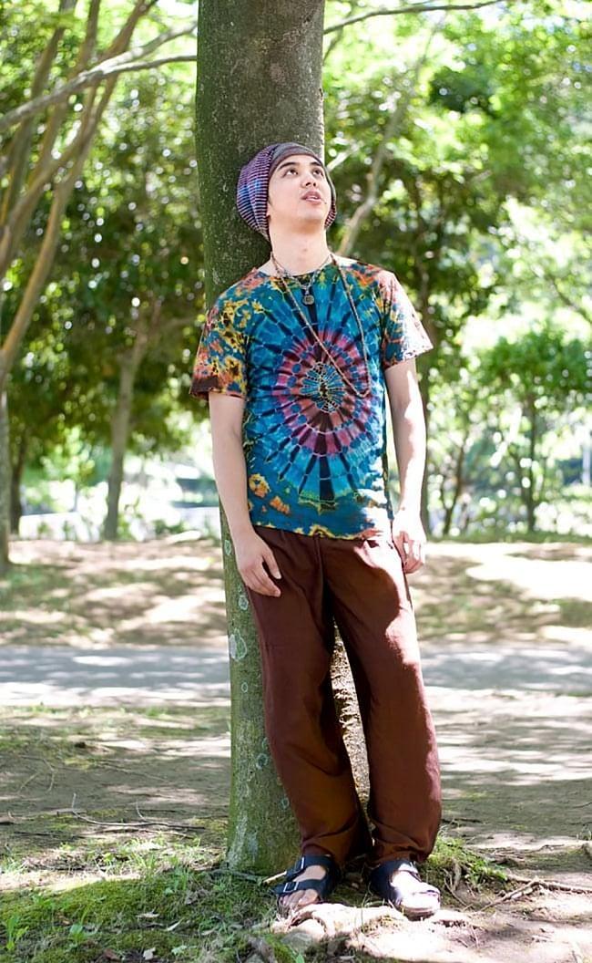 シンプル無地のリラックスパンツ 【れんが】2-サラサラした肌触りがとても快適で蒸し暑い季節にピッタリです。\