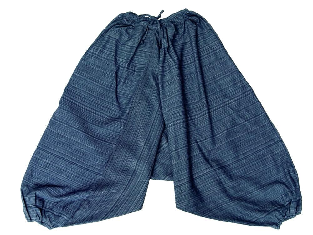 ストライプ織りのコットンモモンガパンツの個別写真
