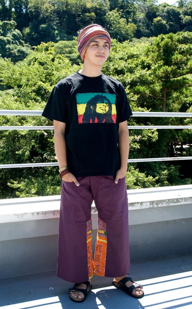 モン族刺繍のタイパンツ 【えんじ】の写真