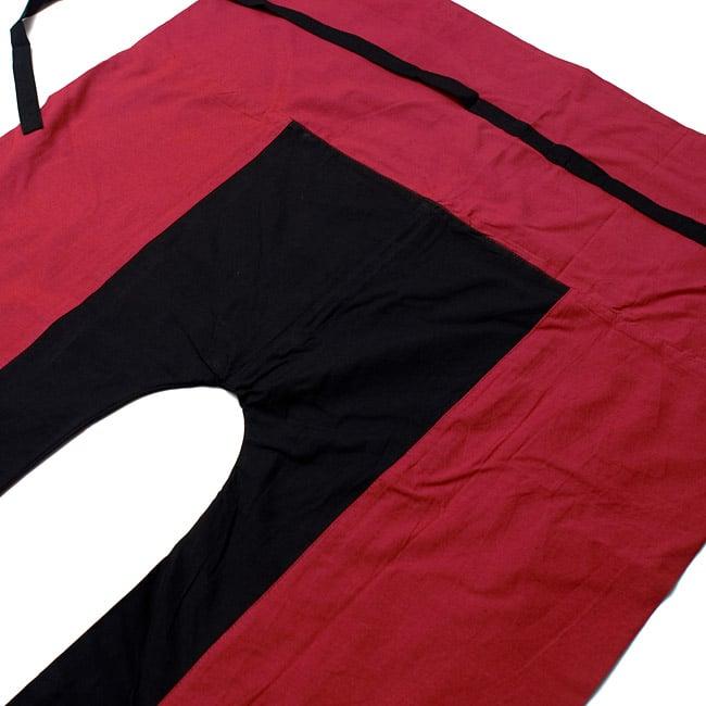 バイカラーのコットンタイパンツ-ロング - 【えんじ・ブラック】2-しっかりした縫製なのでとても丈夫です。\