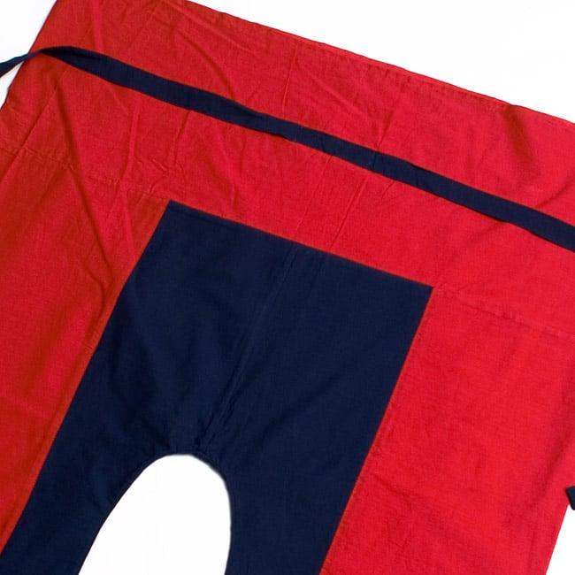 バイカラーのコットンタイパンツ-ショート - 【レッド・ネイビー】の写真2-しっかりした縫製なのでとても丈夫です。\