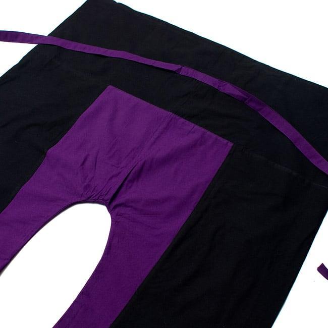 バイカラーのコットンタイパンツ-ショート - 【ブラック・パープル】の写真2-しっかりした縫製なのでとても丈夫です。\