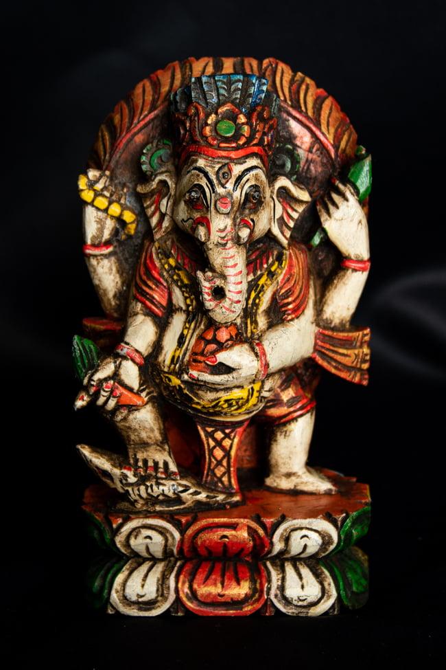 [一点もの]木彫りのホワイト・ガネーシャ - 18cmの選択用写真
