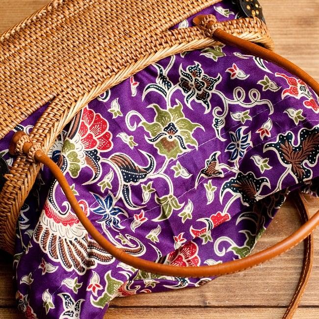アタかご 巾着バッグ  ココナッツボタン付き 発祥の地トゥガナン村で手作り【約13cm x 27cm】の選択用写真