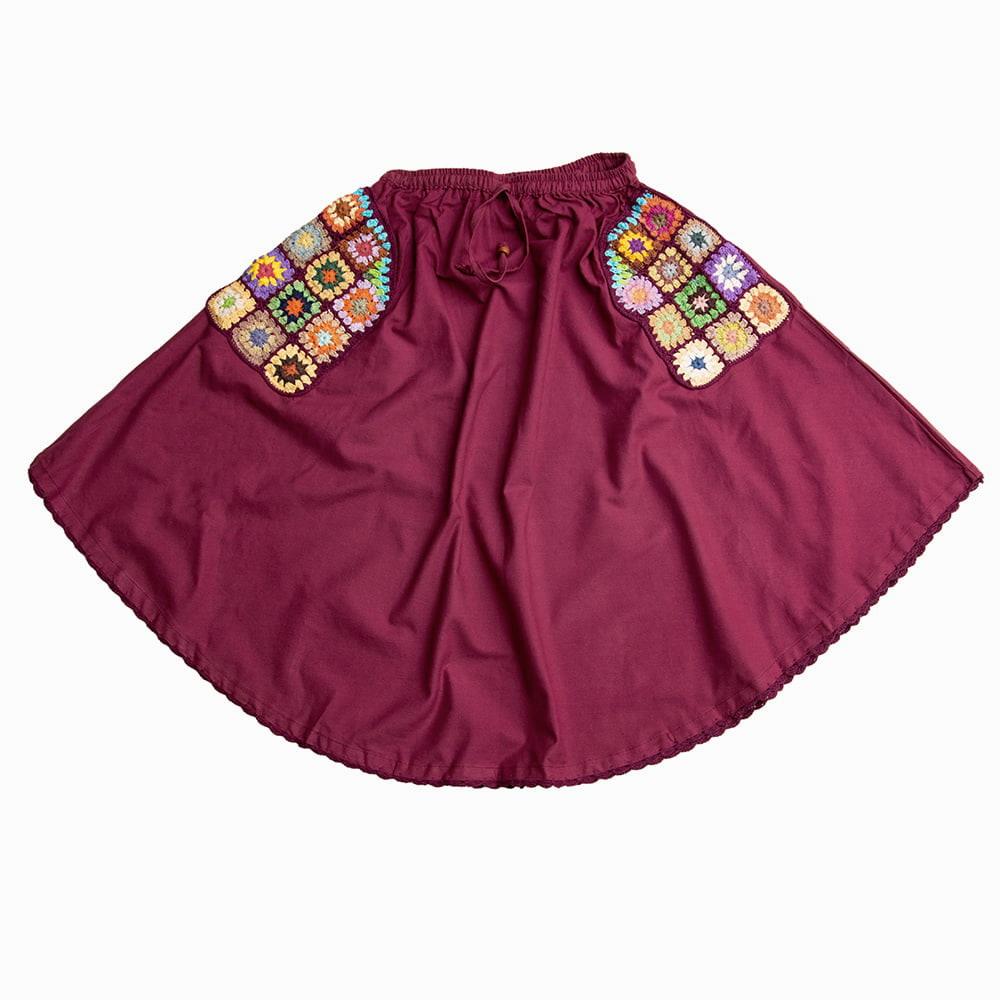 フラワー刺繍のコットンフレアスカートの個別写真