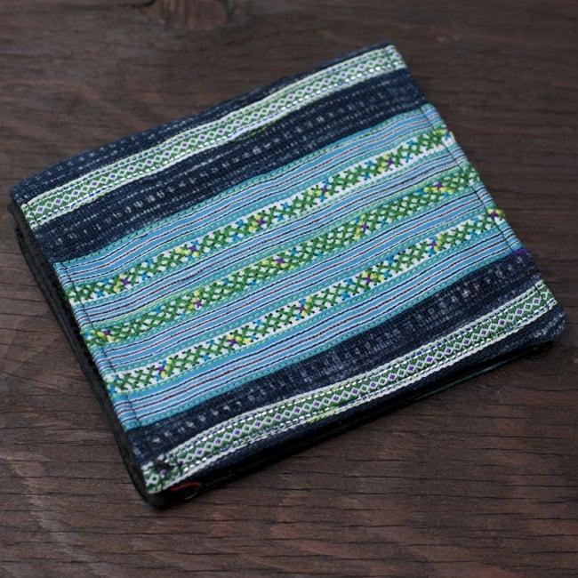 モン族の古布を使った二つ折り財布[水色]