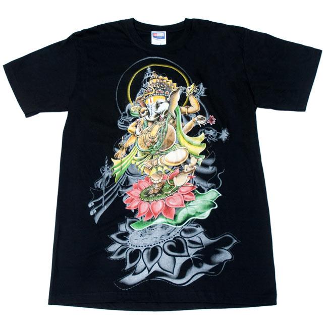 蓮の上で踊る!ダンシングガネーシャ Tシャツ