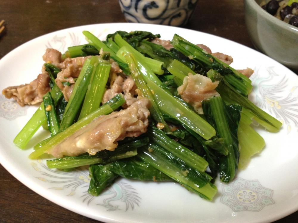 小松菜と豚肉のシーズニングソース炒めの写真