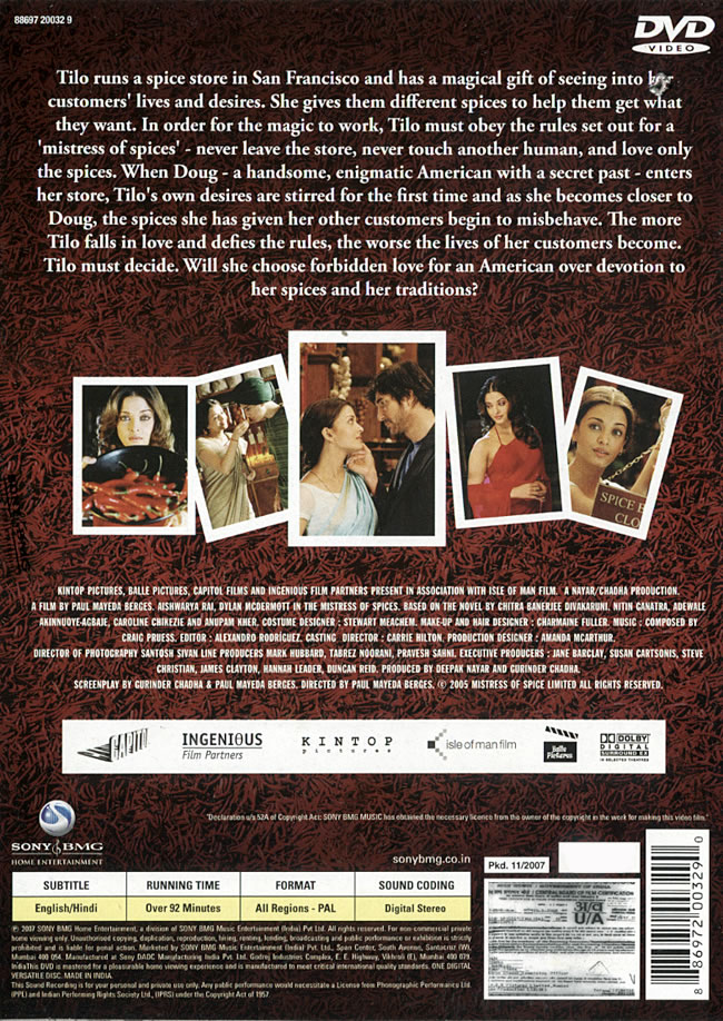 The Mistress of Spices DVD (region-free) / love India movie 2007 Vale Music  CD Blu-ray