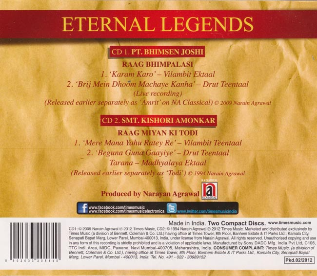 Eternal Legends - Pt.Bhimsen Joshi,Smt.Kishori Amonkar 2 -