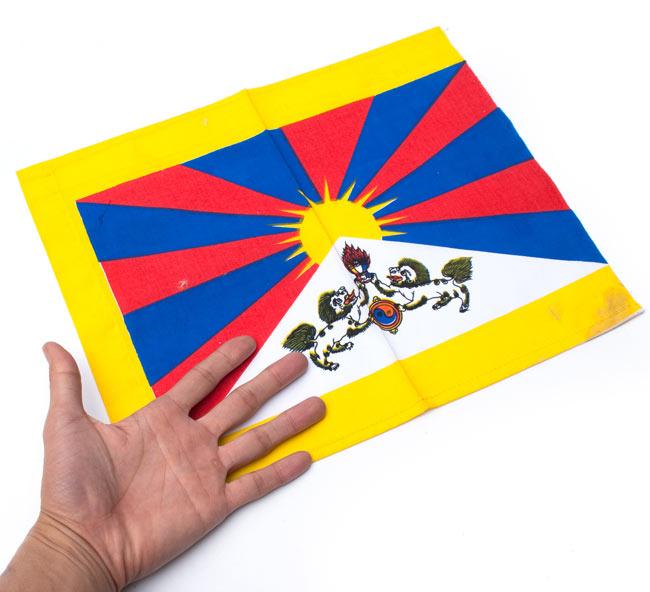チベットの国旗-小[31cm x 24cm] 5 - サイズ比較のために、手と一緒に撮影しました
