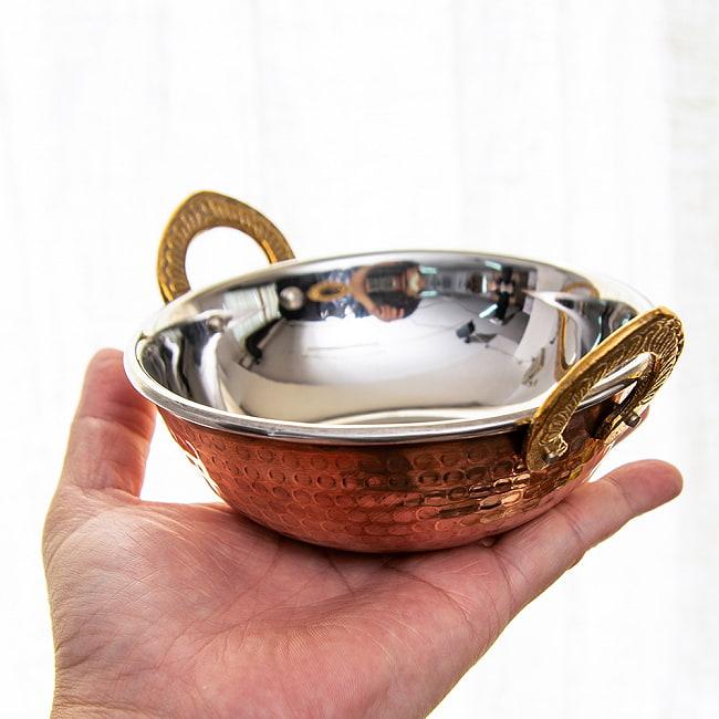 カダイ [装飾持ち手付](直径:約13cm)の写真5 - 打ち出し銅のパターンが綺麗です
