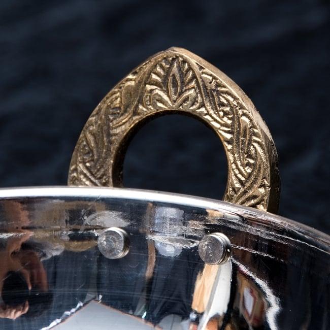 槌目仕上げ 銅装飾のカダイ [装飾持ち手付](直径:約15cm) 3 - 取っ手部分の拡大です